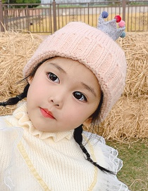 Fashion Crown Gray Hat 0-6 Years Old One Size Crown Colored Ball Baby Knitted Woolen Hat
