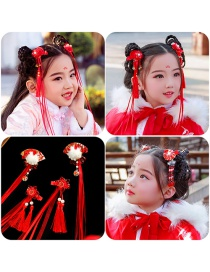 Fashion Fan Streamer Handmade Knitted Flower Alloy Fabric Childrens Hairpin