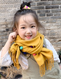 Fashion Yellow Color Matching Is Recommended For About 2-12 Years Old Ball Tassel Thickened Double-sided Cashmere Childrens Scarf