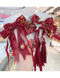 Fashion Burgundy Tassel Bow Childrens Hairpin With Tassel Bow Knit Alloy