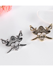 Fashion Silver Color Alloy Pirate Skull Brooch