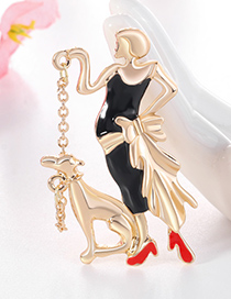 Fashion Golden Color Alloy Puppet Puppy Brooch