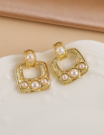 Fashion Gold Color Alloy Pearl Hollow Square Earrings