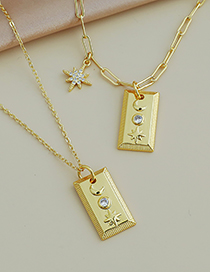 Fashion Gold Color Copper Inlaid Zircon Thick Chain Square Necklace
