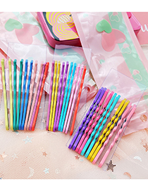 Fashion Wave Pattern Mixed Color 1 Dripping Alloy Hit Color Word Clip Set