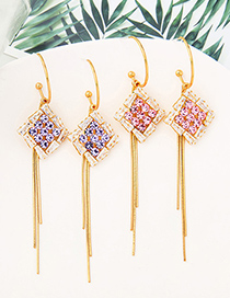 Fashion Cherry Blossom Powder Geometric Diamond Alloy Tassel Earrings