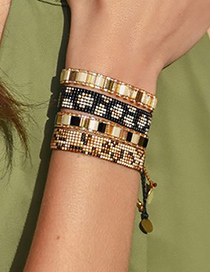 Fashion Beige Hand-woven Beaded Contrast Bracelet