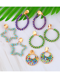 Fashion Color Circle Geometric Hollow Rice Beads Beaded Hollow Earrings