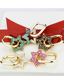 Fashion Gold-plated Zirconium Gold-plated Copper Five-pointed Star Inlaid Zircon Earrings