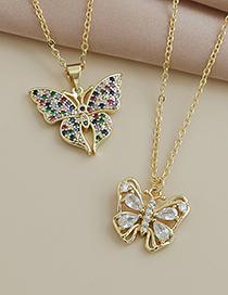 Collar De Mariposa De Circonitas Con Incrustaciones De Cobre