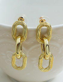 Fashion Golden Alloy Twisted Chain Earrings