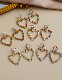 Fashion Color Alloy Diamond Hollow Heart Earrings