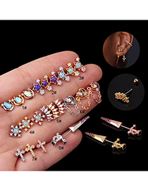 Fashion Rose Gold 1# Micro-inlaid Zircon Stainless Steel Geometric Earrings