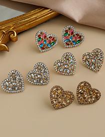 Pendientes De Corazón Hueco De Diamantes De Aleación