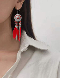 Fashion White Feather Round Oil Drop Sun Flower Earrings