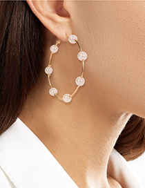 Fashion Small 4cm Pearl Beaded Round Alloy Earrings