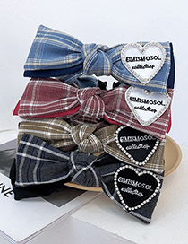 Fashion Black Plaid Rhinestone Love Big Bow Check Broadband Hair Band