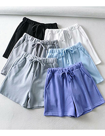 Fashion Lake Blue Lace-up Elastic Waist Straight Shorts