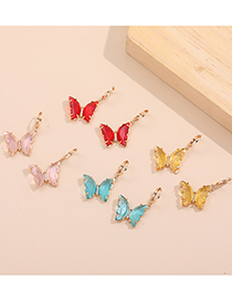 Fashion Transparent Red Multicolor Zircon Butterfly Earrings