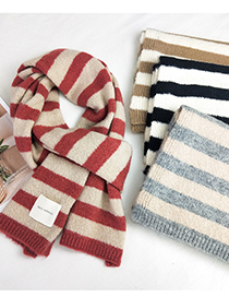 Fashion Striped Magenta Striped Knitted Wool Scarf