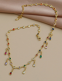 Fashion Gold Color Copper Inlaid Zircon Drop Necklace