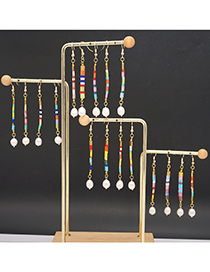 Fashion Mixed Color A Colorful Beaded Stripes Long Geometric Earrings