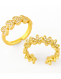 Fashion Flowers Love Heart Diamond Flower Brass Gold Plated Open Ring