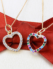 Fashion Gold-plated White Zirconium Gold-plated Heart-shaped Cutout Necklace With Zircon