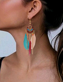 Fashion White Alloy Feather Drop Oil Drop Earrings