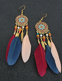 Fashion White Flower Feather Drop Oil Round Alloy Earrings