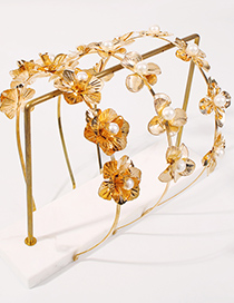 Fashion Gold Color Alloy Pearl Flower Headband