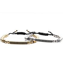 Fashion Gold Color Strip Micro-inlaid Zircon Long Woven Adjustable Bracelet