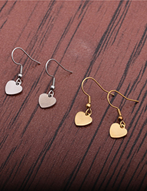 Fashion Gold Color Heart Titanium Steel Peach Heart Copper Gold-plated Earrings