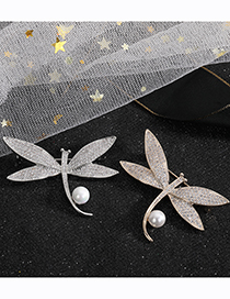 Fashion Silver Color Pearl And Diamond Dragonfly Brooch