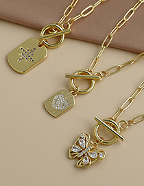 Fashion Golden Copper Inlaid Zircon Thick Chain Butterfly Necklace