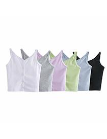 Fashion White Solid Color Single-breasted Sling Slim Vest