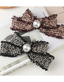 Fashion Coffee Color Cotton Linen Fabric Bow Pearl Hairpin