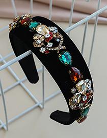 Fashion Color Fabric Alloy Diamond-studded Water Drop Headband