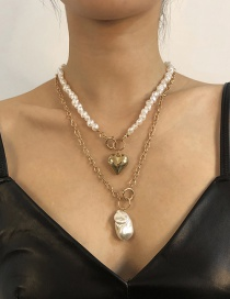 Fashion Golden Alloy Pearl Multilayer Love Necklace