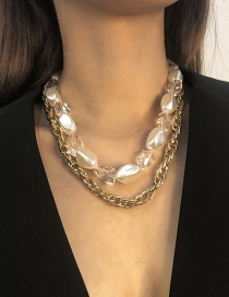 Fashion Golden Alloy Pearl Double Necklace