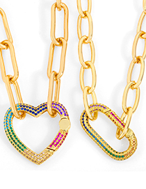 Fashion Love Diamond-studded Copper Gilded Heart Hollow Necklace