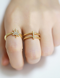 Fashion Leaves Diamond Leaf Geometric Shaped Copper Gold Plated Open Ring