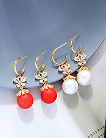 Fashion Cream White Pearl Butterfly Earrings With Diamonds And Gold Plated