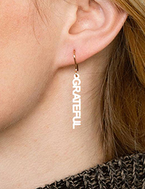 Fashion Ab Font-steel Color Stainless Steel Letter Geometric Earrings