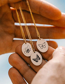 Fashion Steel Color Dw-219 Stainless Steel Animal Butterfly Geometric Necklace