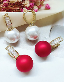 Fashion White Diamond And Pearl Alloy Geometric Long Earrings