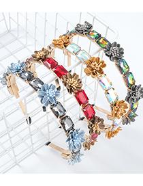 Fashion Red Alloy Rectangle Inlaid Glass Diamond Flannel Flower Headband