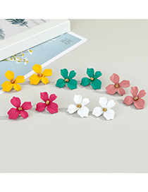 Fashion White Flower Dripping Alloy Earrings
