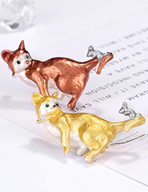 Fashion Red Alloy Cat Brooch
