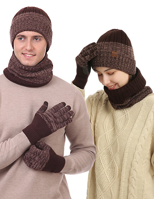 Fashion Red Three-piece Woolen Knitted Hat Scarf And Gloves